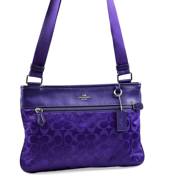 177e79874 ... closeout coach signature violet spencer crossbody bag 33483 036a2 bd80f